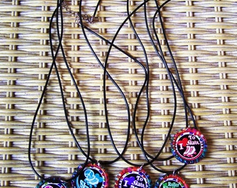 Assorted Roller Skate Skating Images on Tie Dye Caps Rubber Cords Birthday Party Favor Necklaces 5pk