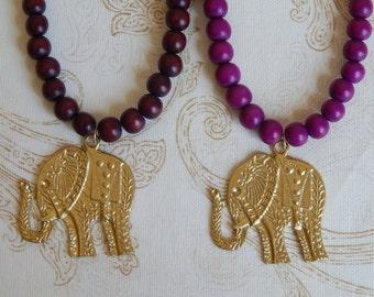 Gold elephant necklace with colored wood beads, layering necklace, beach boho, boho style, fall jewelry, gold elephant pendant