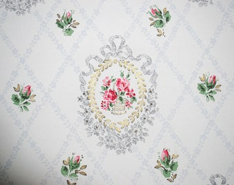 Antique FRENCH WALLPAPER Baskets of roses medallions