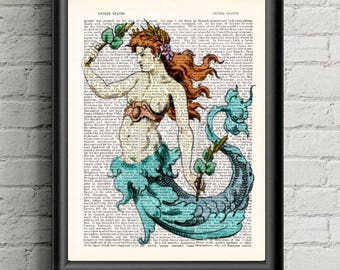 Mermaid Wall Art Print Rustic Decor Dictionary Print  Coastal Decor- Ocean Art- Mermaid Decor- Under The Sea- Nautical Decor- Bathroom Decor
