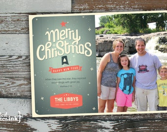 Merry Christmas Digital Holiday Card  - Customizable with scripture & photo (Matthew 2:10)