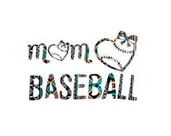 Baseball Mom with Hearts Design Black and White SVG Cricut CUT File play ball pdf eps png