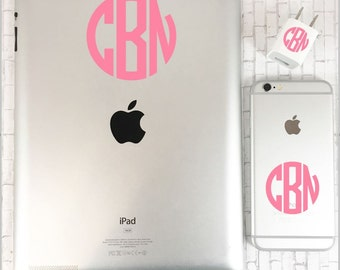 Monogram Decal iPhone Set, Personalized iPhone Decal, iPad Sticker, Custom iPhone iPad and Charger Decal, Vinyl iPad iPhone and Charger