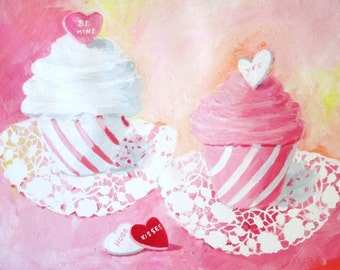 Original Painting * CANDY HEART CUPCAKES * Art by Rodriguez
