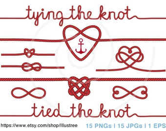 Wedding clipart, tying the knot, anchor digital clip art, nautical clipart, wedding invitation, save the date, commercial use, PNG, EPS, SVG