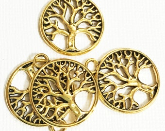 10 pcs of Antiqued gold tree in a circle pendant 22x19mm, antique gold tree of life pendant