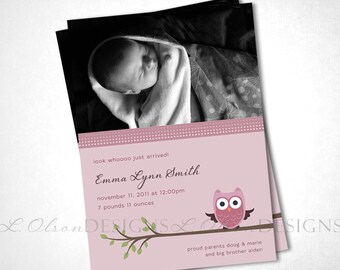 Look Whooo Just Arrived Owl Birth Announcement - Rose - DIY Printable