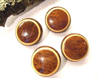 "Vintage Buttons, California Redwood BURL, Set of 4, 15/16"". ANIMAL CHARITY Donation"