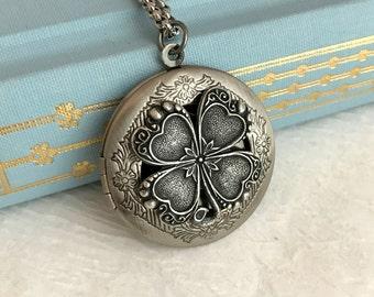 Four Leaf Clover Locket Necklace, Irish locket, silver clover necklace, Irish jewelry, clover pendant, antique silver locket, good luck gift