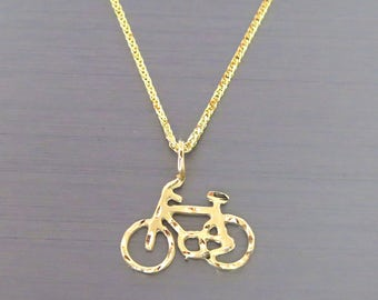 Bicycle Pendant - 14k Gold Bicycle Pendant - Bicycle Neckalce - Gold Bicycle Necklace - 14k gold Bicycle Pendant - Gold Bicycle Charm
