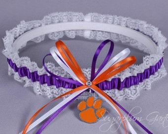 Clemson University Tigers Lace Wedding Garter - Ready to Ship