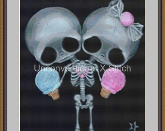 "Conjoined twins freak show counted cross stitch pattern - "" Sugar Twins "" miniature - Licensed Sugar Fueled"