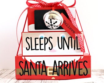 Santa Countdown, Christmas Countdown, Handmade Countdown, Merry Christmas, Santa, Christmas Decoration, Chalkboard Countdown, Handmade Gift