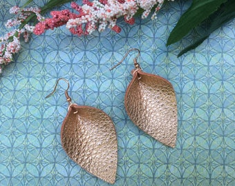 Rose gold petal leather earrings, metallic rose gold leather inverted teardrop earrings, rose gold leather earrings