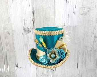 Teal and Tan Paper Flower Medium Mini Top Hat Fascinator, Alice in Wonderland, Mad Hatter Tea Party, Derby Hat