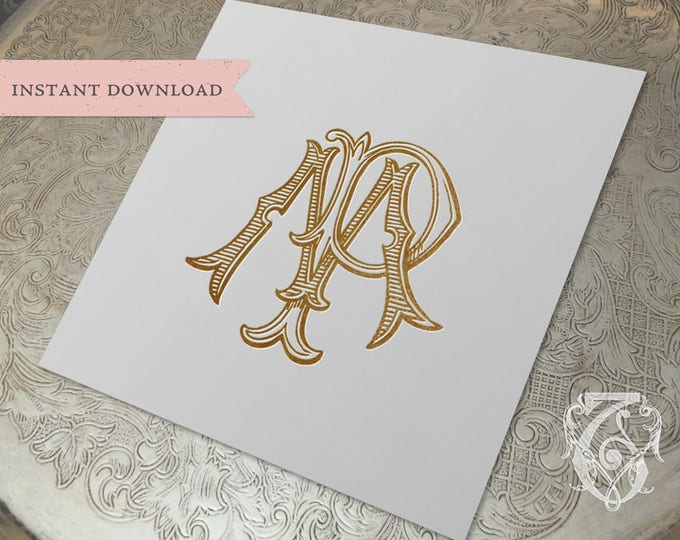 Vintage Wedding Monogram MP PM Digital Download M P