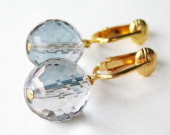 Blue Faceted Ball Clip-on Earrings, Iridescent AB  Blue Glass Clipons, Gold Ear Clips, Handmade, Crystal Ball