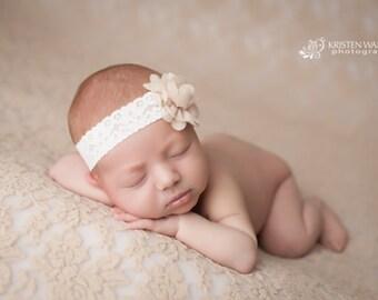 Beige Headbands, Beige Headband, Newborn Headband, Newborn Headbands, Beige Baby Headbands, Beige Headbands, Headbands Beige