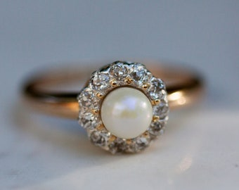 Antique Old European Cut Diamond and Pearl Halo Ring in 14k Yellow Gold, Size 7 Pearl Halo Ring / Diamond Halo Ring /Pearl Engagement Ring /