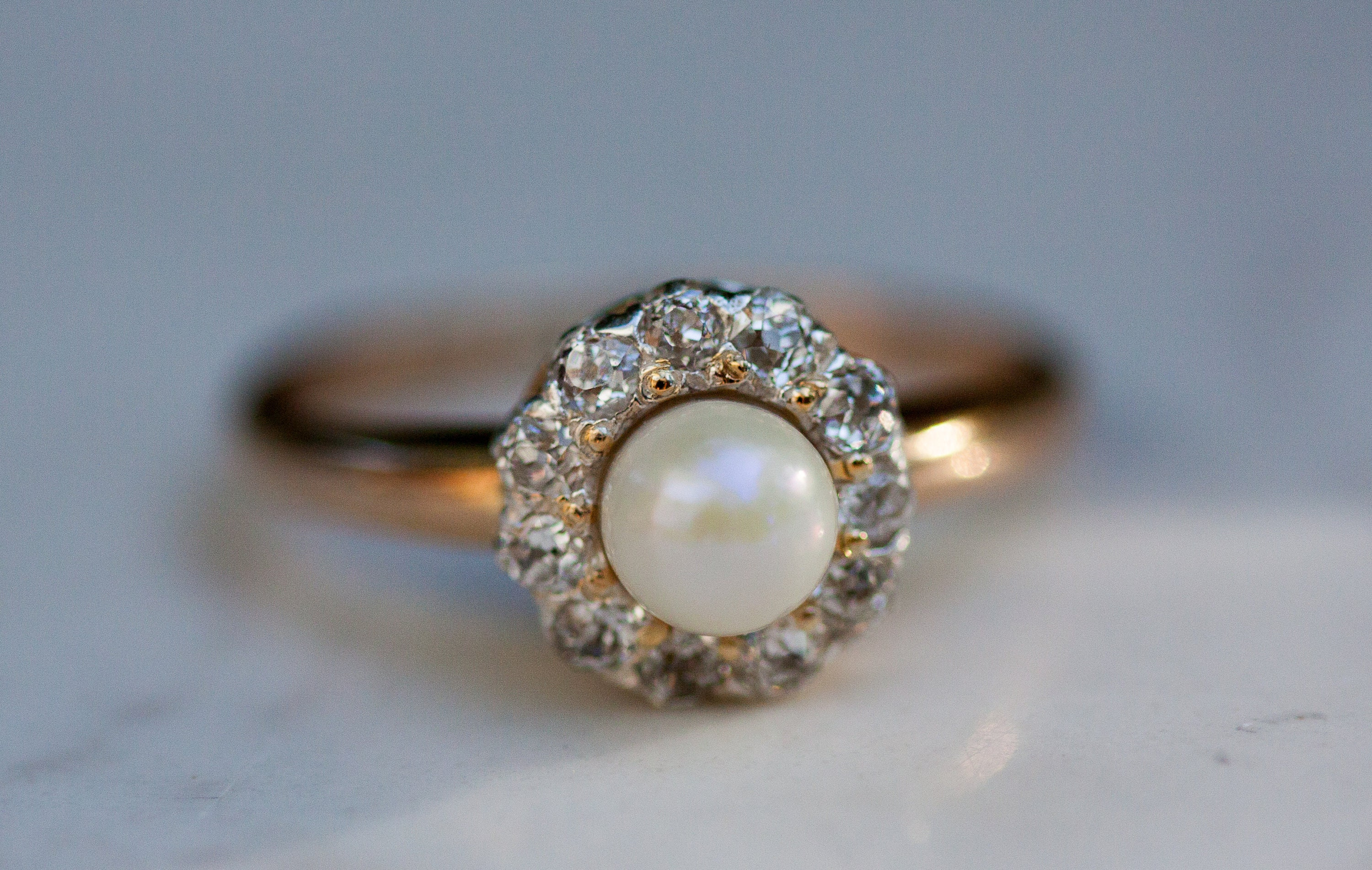 and wedding bypass yellow gold diamond pearl rings ring image in