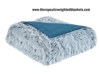 Teal Shaggy Faux Fur Adult Weighted Blanket for Anxiety, Insomnia, PTSD, Autism, ADHD