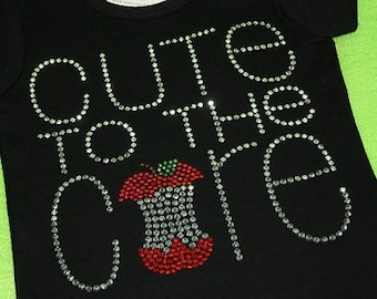 CUTE to the CORE rhinestud tee by 1286 Kids (formerly Daisy Creek Designs) - back to school bling - apple core - rhinestone tee