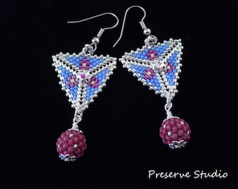 Silver, Beaded, Blue, Fuchsia, Peyote Triangle, Beaded Beads, Drop, Dangle, Triangle Earrings