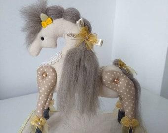 Decorative horse. Fabric ornament. Handmade unique soft sculpture. Horse birthday present. Yellow and brown ornament. Pretty horse gift.