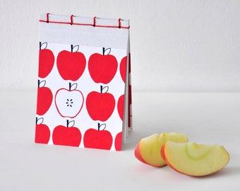 Kleines Notizbuch, handgemacht, rote Äpfel, weiß, rot - Geschenk, Journal, Tagebuch, Skizzenbuch, Reisetagebuch, Notizblock, Block