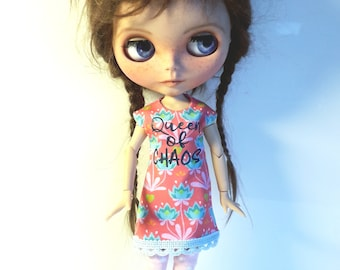 """Handmade Tricot Dress """"Queen of Chaos"""" for Blythe 1/6"""
