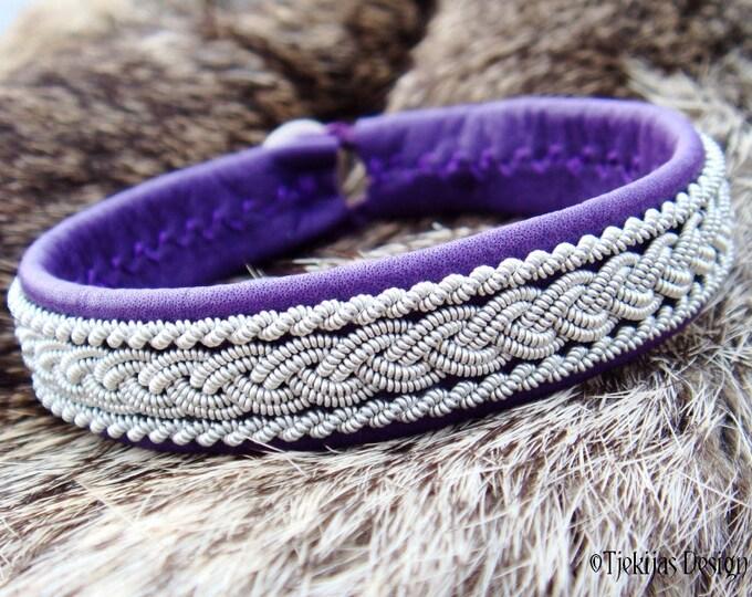 Sami Lapland Fashion Bracelet MJOLNIR Purple Leather Viking Cuff Bracelet for Guys and Girls - A Custom Handmade Piece of the North