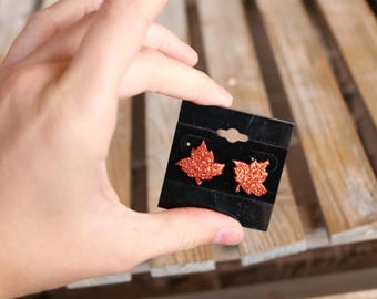 Sparkly Orange Fall Leaf Stud Earrings/Sparkle/Fall/Autum