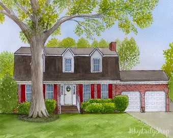 First home watercolor portrait Personalised house portrait Custom house painting House drawing from photo Wedding gift idea House watercolor