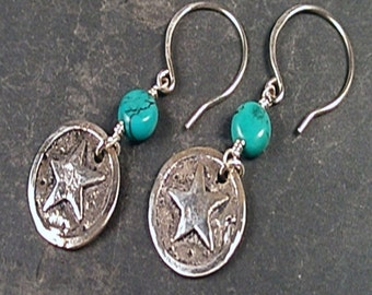Willa Earrings - Turquoise and Sterling Silver