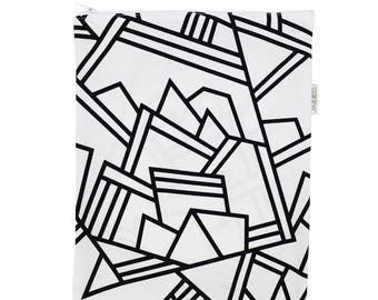 """Big zip pouch for touch pad - black and white - hand-printed - """"Pégase"""""""