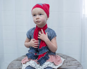Fashion Scarf with Ruffle, Patriotic, Red & Blue - Baby/Toddler