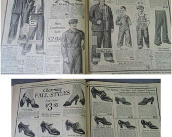 Vintage 1920s 1930s Catalog Magazine Antique Clothing Burgan's Fall and Winter, Womens Mens Childrens Clothing, Household items