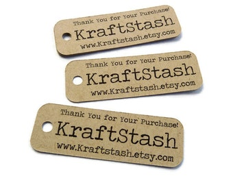 Shop Tags - 50 Count -  Personalized Tag - Hang Tags - 2.25 x 0.75 inch - Thank You Tags - Custom Tags - Website Tags - Jewelry Tag BT3