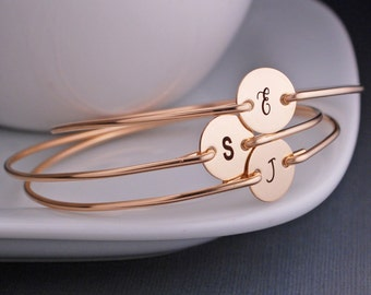 Personalized Bridesmaids Jewelry, SIX, Bridesmaid Gifts, Gold Bracelets, Bridesmaid Initial Charm Jewelry