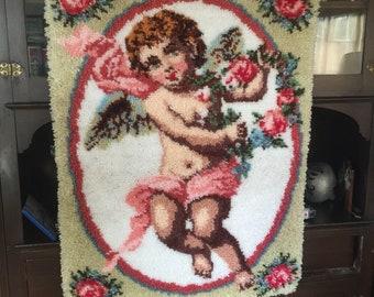 """Cherub handmade rug wall hanging 30"""" x 40"""""""