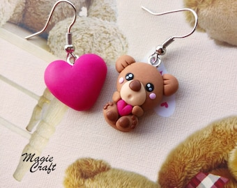 Teddy Bear with Heart Earrings - Handmade in Polymer Clay