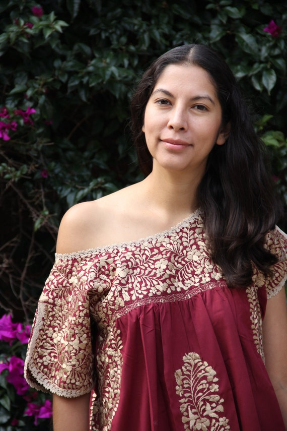 Burgandy and antique gold embroidery Mexican Wedding Dress