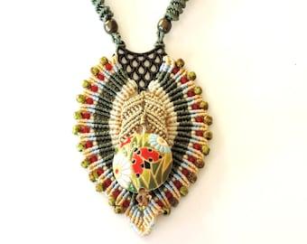 Ladybug necklace, micro-macrame, Golem bead, red, green, tan