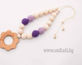 Personalized Wood Necklace  Mom and Baby Gift Breastfeeding Accessory Purple Color Flower Shape Fine Motor Toy Baby Shower Gift Wood Toy