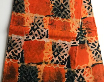 African print fabric, Orange tribal Batik, African Wax Print, Tribal print, African Ankara, African Material, sold by the yard