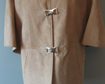 Vintage Suede Cape Jacket with Lacing Up the Sides and Metal Closures