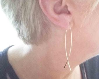 Solid 14k Gold Fish Hoop Earrings, Long Narrow Dangle Hoop Earrings, Delicate Hammered Threader Earrings, Christian Jewelry, Modern Jewelry