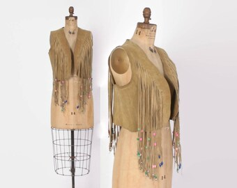 Vintage 60s Beaded FRINGE VEST / 1960s Natural Tan Suede Leather Fringed Hippie Festival Vest