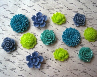 Magnets, 12 pc Flower Magnets, Sage Green, Teal, Lime Green, Cornflower Blue Kitchen Decor, Housewarming Gifts, Wedding Favors