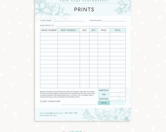 Great Order Form Template, Floral Photography Order Form, Photography Forms,  Purchases, Orders Template